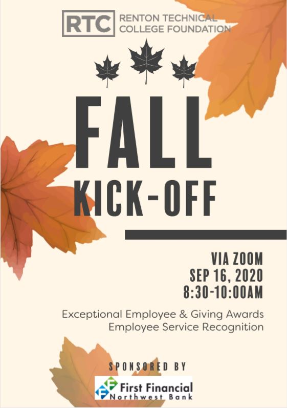 Fall Kick-Off invitation with falling leaves and information text